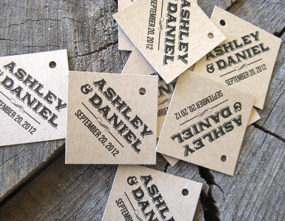 Modern Wedding Gifts: Rustic Modern Gift Tags Diamond Wedding Favor Tags Brown