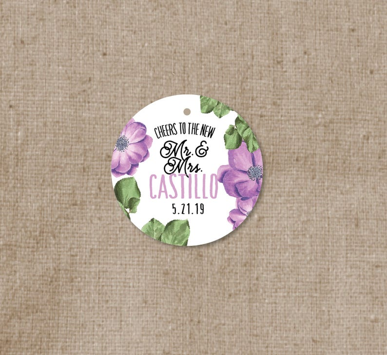 5d22525f46b4 Simple Modern Floral Wedding Favor Tags - Thank you tags - Personalized  Wedding Gift Tags - Bridal Shower Tags - Cheer to the new Mr & Mrs