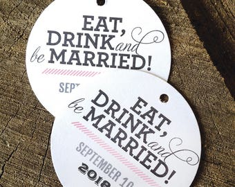 Simple Modern Wedding Favor Tags - Scalloped Thank you tags - Personalized Wedding Gift Tags - Bridal Shower Tags - Part Favor - Set of 50