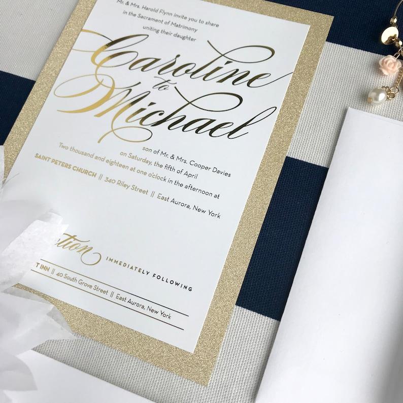 Gold Foil Glitter Wedding Invites - Glitter Script Formal Sparkle Invites  -Gala Event Invite - Bachelorette - Birthday Silver Foil Glitter