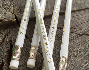 Personalized White Pencils - Gold Foil Wedding Names - Wedding Date and Names Silver Engraved Wedding Favors - Writer Artist Favors gift