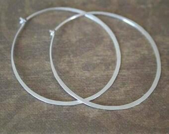 MAXED OUT Modern Hoops......Sterling Silver Hammered Hoop Earrings...18 Gauge