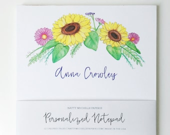 Sunflower Crown Personalized Notepad