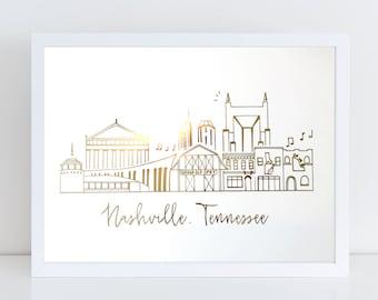 Gold Foil Nashville, Tennessee Art Print