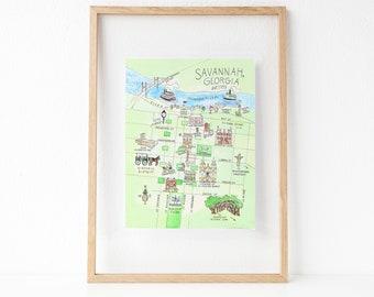Show Me A Map Of Savannah Georgia.Savannah Georgia Etsy