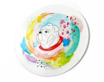 Bulldog Watercolor Sticker