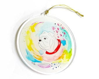 Bulldog Watercolor Acrylic Ornament