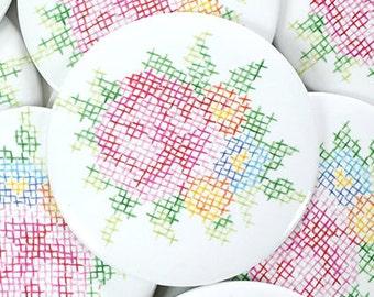 Cross Stitch Flowers Magnet