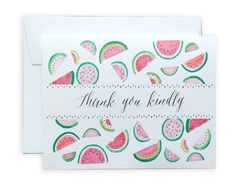 Watermelon Thank You Greeting Card or Notecard Set