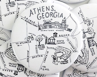 Athens, Georgia Black and White Map Magnet