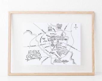 Pen and Ink Athens, Georgia Map 8x10 Art Print