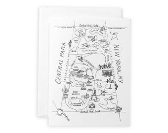 Central Park Pen And Ink Map Notecard Set