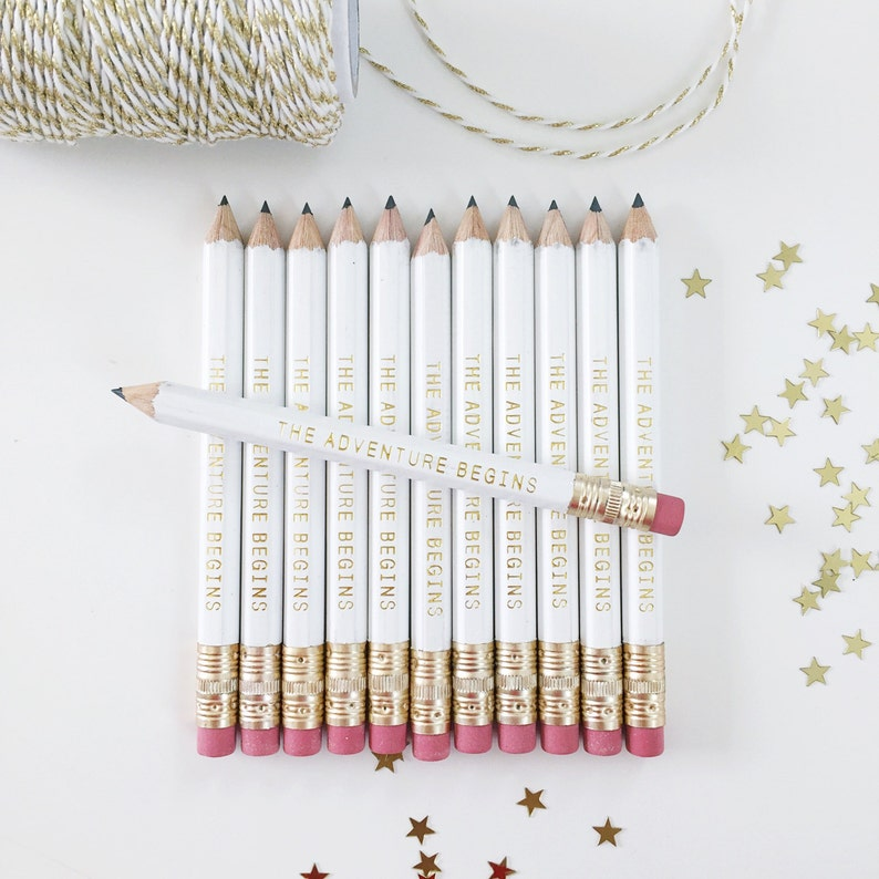 The Adventure Begins Mini Pencils // Bridal or Baby Shower image 0