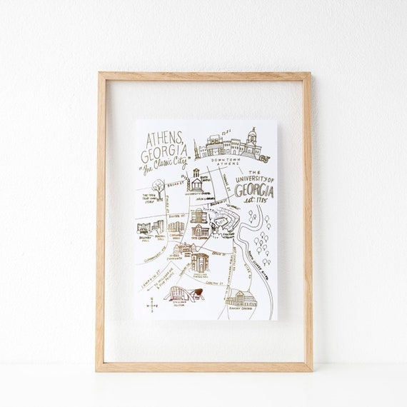Uga Campus Map With Building Numbers.Gold Foil Uga Campus Map Athens Georgia Art Print Etsy