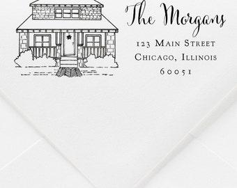 Custom Home Portrait and Return Address Rubber Stamp