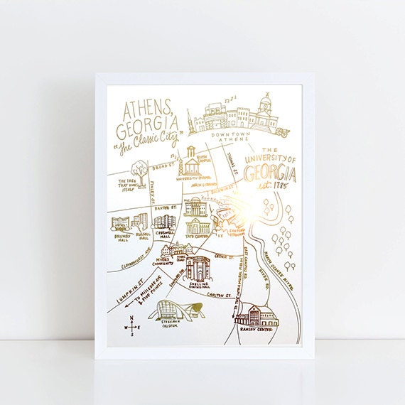 Athens Campus Map.Gold Foil Uga Campus Map Athens Georgia Art Print Etsy