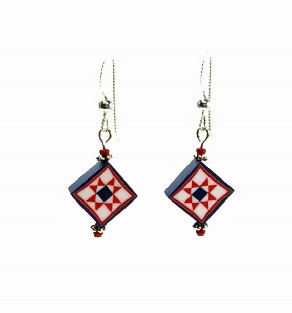 1 Pair Ceramic Mini Americana Star Earring Findings Rustic July 4th DIY Jewelry DIY Patriotic Earring Round Pottery Star Charms