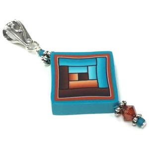 Gift for Quilter Quilted in Clay Blue Pendant Blue pendant Quilt pin Shop for Summer Blue Log Cabin Necklace Quilt Art