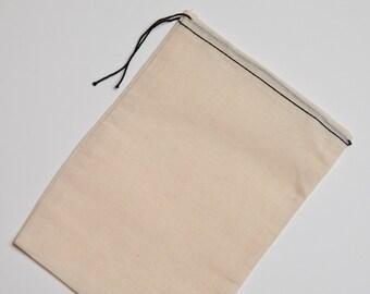 100 Mill Cloth Muslin Bags 8x10 Black hem and Black drawstring