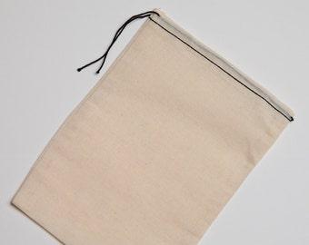 25 6x8 inch Cotton Muslin Black Hem and Balck Drawstring Bags