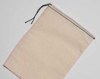 100 6x8 Black Hem Cotton Muslin Black Drawstring Bags