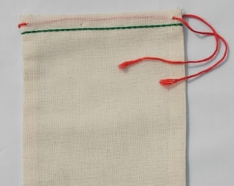 25 4x6 Cotton Muslin Drawstring Bags With GREEN HEM and RED drawstring