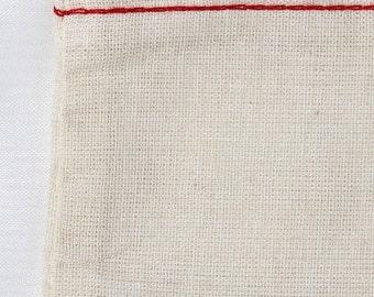 100 3x5 Cotton Muslin Drawstring Bags RED hem and natural drawstrings