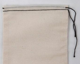 25 count 8x12 inch Cotton Muslin Black Hem and Black Drawstring Bags