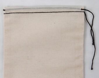100 compter 8 x 12 pouces coton MuslinBlack ourlet et sacs noir
