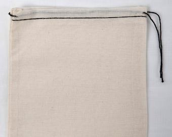 50 5x7 Cotton Muslin Black Hem and Black Drawstring Bags