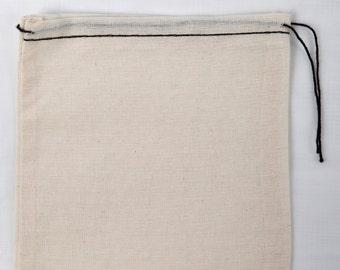 25 5x7 Cotton Muslin Black Hem and Black Drawstring Bags Bath Soap Herbs Crafts