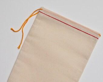 25 5x7 Cotton Muslin Red Hem and Orange Drawstring Bags