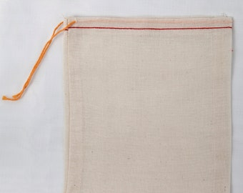 50 6x8 Red Hem Orange Drawstring Cotton Muslin Bags