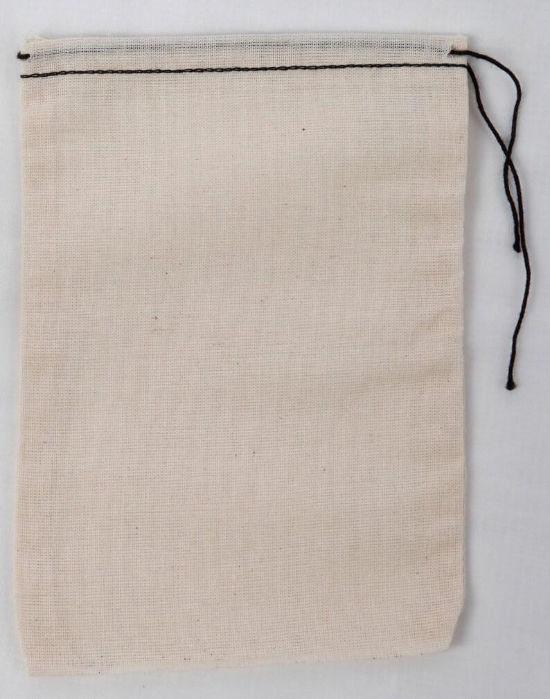 197630d737bd 25 4x6 Cotton Muslin Drawstring Bags Black Hem and Drawstring