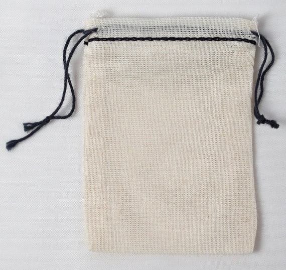 500 Cotton Muslin Bags Herbs Crafts Double drawstring bags *WORLDWIDE* 3.25x5