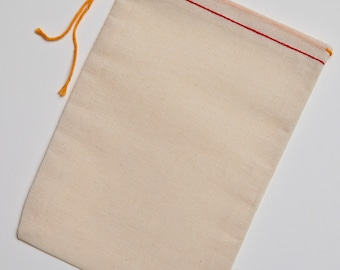 100 5x7 Cotton Muslin Bags With a Red Hem and Orange  Drawstring