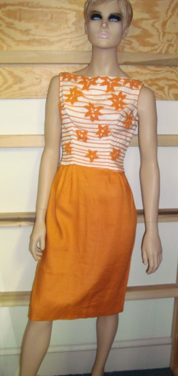 50's Nautical Dress Orange and White Stripe Linen