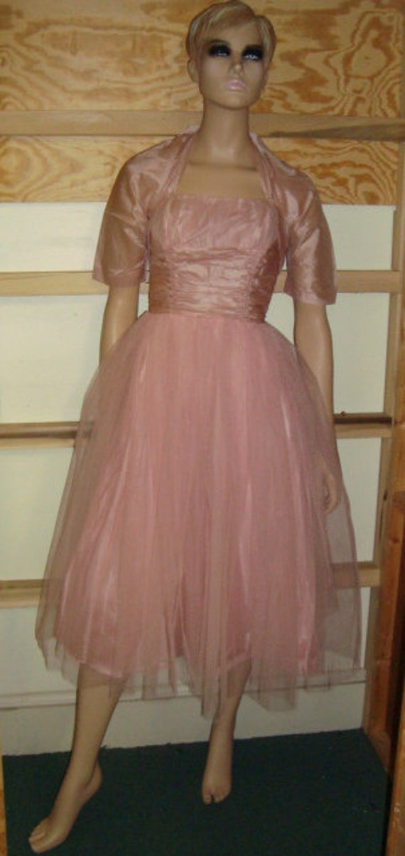50's Pink Tulle Halter Top Dress with Jacket - image 2