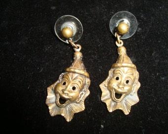 Brass Clown Earrings