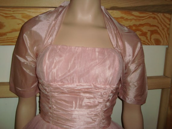 50's Pink Tulle Halter Top Dress with Jacket