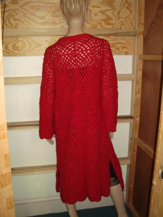 70's Red Crochet Sweater Coat