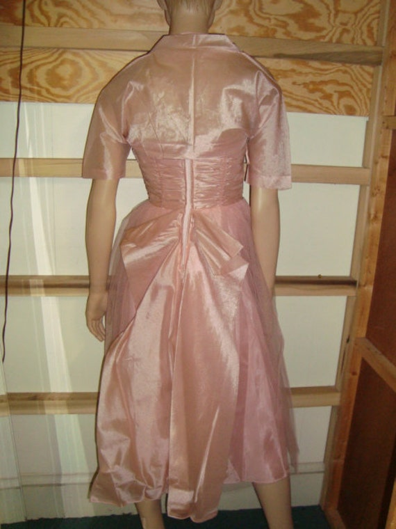 50's Pink Tulle Halter Top Dress with Jacket - image 3