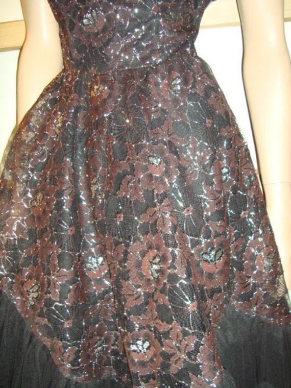 50's Black Tulle Strapless Dress