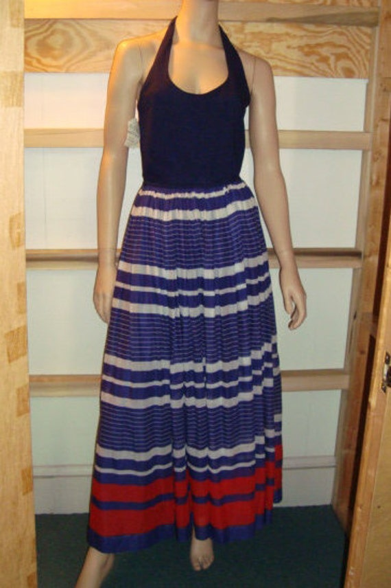 50's Halter Dress Red White & Blue Styled by Doria