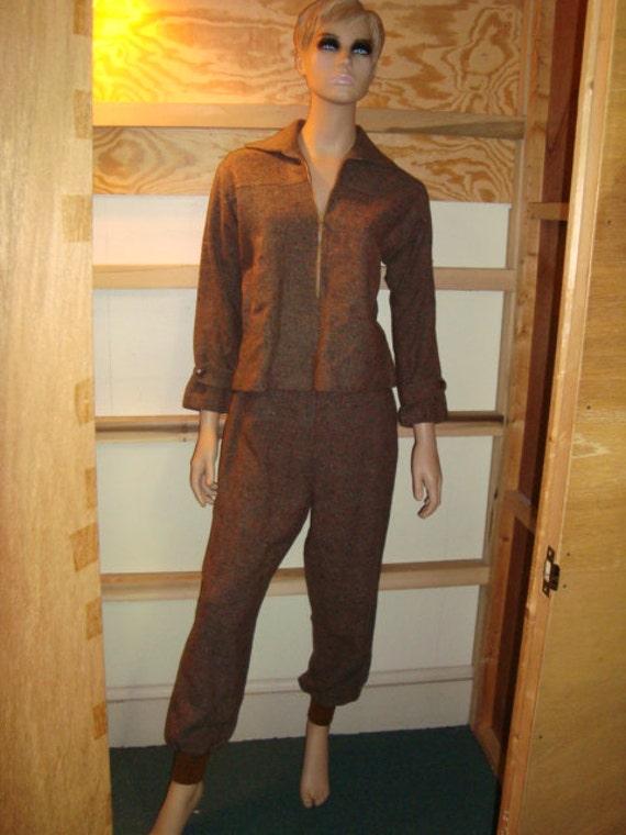 1940's Ladies Ski Suit Brown & Turquoise