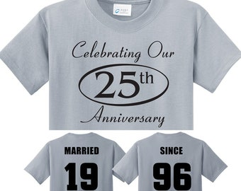 25th SILVER Anniversary gift in Silver Couples T-Shirts,  'MARRIED SINCE' set of 2 Matching Tees