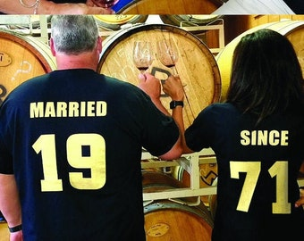 MARRIED SINCE 1971 & Celebrating Our 50th ANNIVERSARY Couples T-Shirts, set of 2 Matching Tees