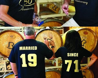 MARRIED SINCE & Celebrating Our 50th ANNIVERSARY Couples T-Shirts, set of 2 Matching Tees