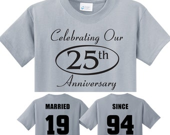 cd4c68b44 25th SILVER Anniversary gift in Silver Couples T-Shirts, 'MARRIED SINCE'  set of 2 Matching Tees