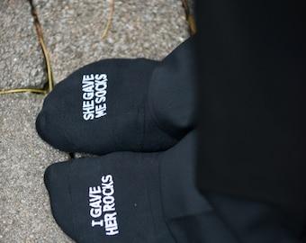 Embroidered Grooms Socks 'I gave her rocks, she gave me socks'' Funny Wedding Gift Idea, Wedding Socks Gift from Bride, Groom Wedding